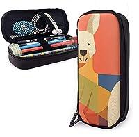 カンガルー鉛筆ケースホルダー大容量鉛筆ポーチ文房具オーガナイザージッパー付き学校オフィス、多機能化粧品化粧バッグ