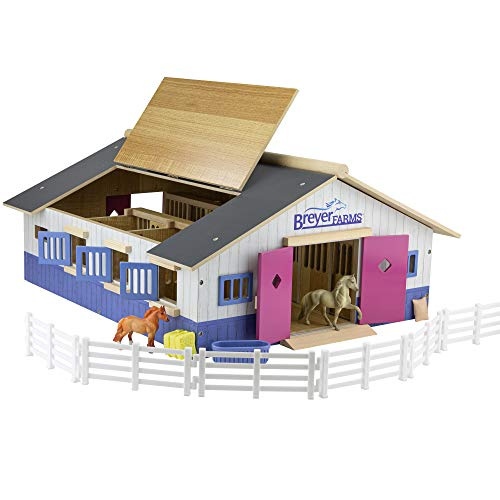 """Breyer Horses Breyer Farms Deluxe Wooden Playset   19 Piece Playset   2 Stablemates Horses Included   28"""""""" L x 16"""""""" W x 8.5"""""""" H   1:32 Scale   Model #59215"""", Multi"""