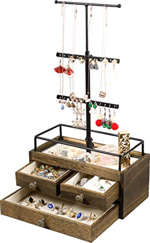 Jewelry Organizer Stand with Double-Layer Wooden Drawer Storage Box - 3 Tier Jewelry Holder for Necklaces, Bracelet, Earrings & Ring Jewelry Tree Jewelry Tower Metal & Wood