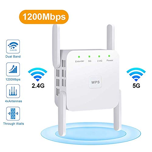 QYJY 1200Mpbs Repetidor WiFi, Amplificador WiFi 2.4 / 5GHz Amplificador De Señal IEEE802.11n / G/B con Función WPS para Cubrir Un Rango Más Amplio