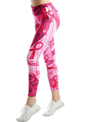 COOLOMG Damen Leggings Yoga Hose Printed Sporthose Fitness Laufhose lang mit Taschen Pink2 S