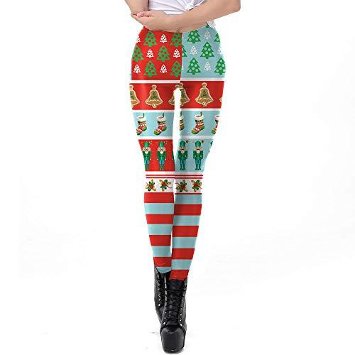 Rtyoo Leggings Für Damen Weihnachtsfrauen Winter Polyesterfaser Elastische Stretchhose @ Figure_S