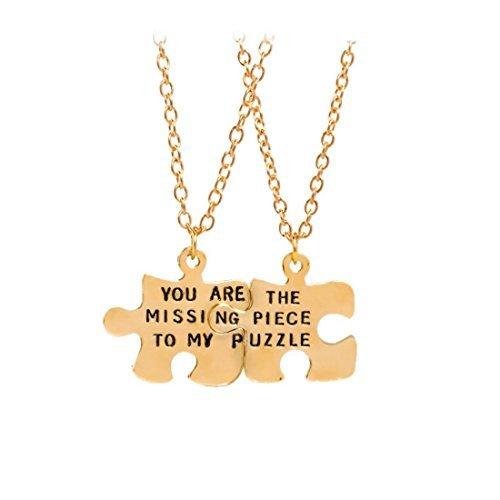Juego de collar de piezas de rompecabezas de oro, eres la pieza que falta a mi rompecabezas