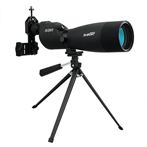 SVBONY SV17 Spotting Scope Straight 25-75x 70mm Spotting Scope with Tripod Phone Adapter for Target Shooting Bird Watching...