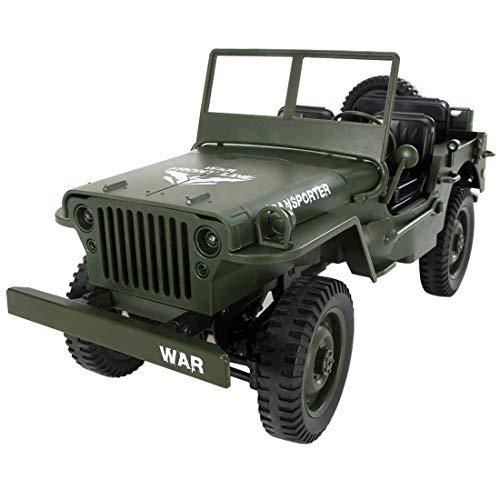 Batop RC Militär Truck, 1:10 Ferngesteuert Jeep Geländewagen 4WD 2,4 Ghz Ferngesteuertes Militärfahrzeug mit LED Beleuchtung, für Erwachsene und Kinder