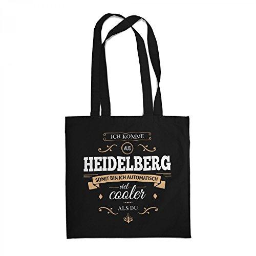 Fashionalarm Stoffbeutel - Ich komme aus Heidelberg - Bin viel Cooler als du   Beutel Baumwolltasche mit Spruch als Geschenk Idee stolze Heidelberger, Farbe:schwarz