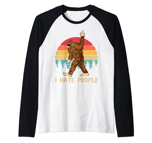 Funny Bigfoot, Odio a la gente, Dedo medio, Vintage, Retro Camiseta Manga Raglan