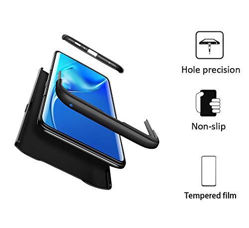 GoodcAcy Hülle Kompatibel mit Samsung Galaxy A80 with Panzerglas Schutzfolie,360 Grad R&umschutz 3 in 1 PC Superleichte Handyhülle Schutzhülle Hüllen Tasche Bumper Cover für A80 Schwarz