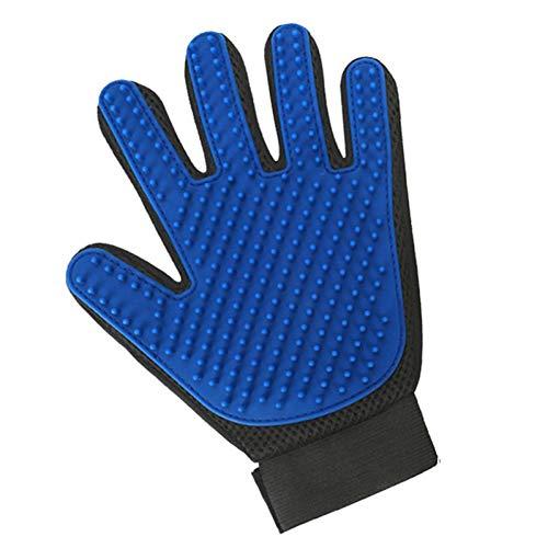 FTHKK washandje voor katten, handschoen van wol voor haren voor huisdieren en huisdieren, Blue Left glove