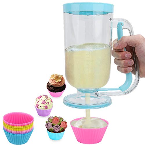 Houzemann 2-in-1 Pancake/Batter/Cupcake Dispenser-Perfect Baking Tool for Cupcakes,Pancakes,Muffins,Crepes,Cakes,Waffles and Any Baked Goods (Blue)