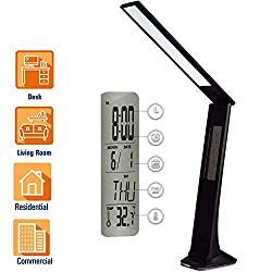 Cordless LED Desk Lamp with USB Port Rechargeable, Touch Control Diammable Table Reading Lights with Calendar/Alarm/Clock LCD Display and Colored Nightlight Base, for Study Sleep Black