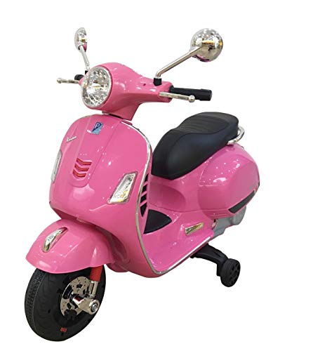 Vespa GTS Super 12V roze, scooter, leder look zitting, softstart, multimedia, kinderauto, elektrische scooter, elektrische kinderscooter