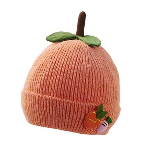 LYTYM Los niños hicieron Punto los Sombreros de Invierno for Chicos, Chicas Bebé, cálido algodón Suave Forrado Infantil Lindo Casquillo de Media Gorra de Esquiar (Color : Orange, Size : 3-24 Months)
