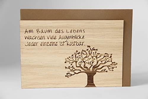 Original Holzgrußkarte - BAUM DES LEBENS - 100% handmade in Österreich, aus Eichenholz gefertigte Grußkarte, Geschenkkarte, Postkarte, Klappkarte