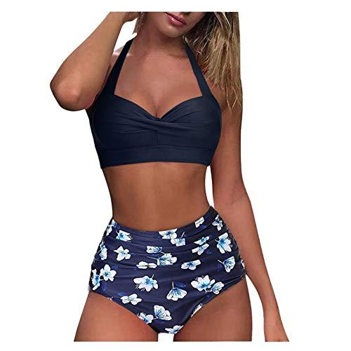 MOMOJIJI Bikini Mujer 2021 Verano, Conjunto de Bikinis para Mujer, Mujeres Braga Alta Push Up Sexy Tankini Ropa de Baño Dos Piezas, Traje de baño con Cintura Alta para Relleno Playa