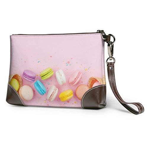 XCNGG Bolso de mano suave impermeable para hombre, bolso de mano de cuero con cremallera de diferentes colores, macarons de frambuesa, bolso de mano con cremallera para mujeres y niñas