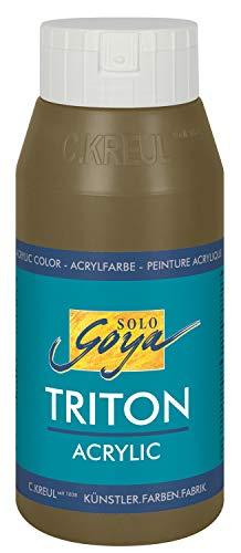 Kreul 17008 - Solo Goya Triton Acrylfarbe umbra grünlich, 750 ml Flasche, schnell und matt trocknend, Farbe auf Wasserbasis, in Studioqualität, vielseitig einsetzbar, gut deckend und ergiebig