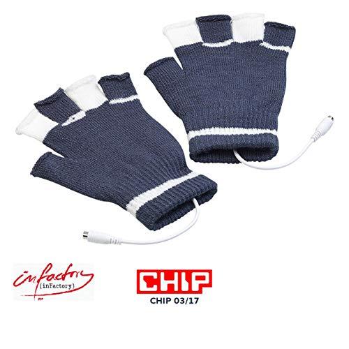 infactory Beheizte Tastatur: Beheizte USB-Handschuhe, bis 50 °C, entnehmbare Heiz-Elemente (Beheizbare Tastatur)