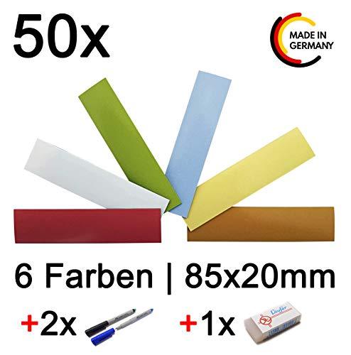 50 bunte beschreibbare Magnetstreifen Etiketten + Faber-Castell Stift + Läufer Radiergummi - 6 FARBEN - Magnetschild Magnet-Etiketten Agile Scrum Whiteboard Kühlschrankmagnet - MIND CARE ESSENTIALS