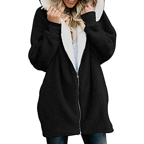iHENGH Damen Mantel Top,Women Solide Coat üBerdimensionale Parka Outwear Tops ReißVerschluss Mit Flauschigen Fell Kardigans Mit Tasche (EU-42/CN-XL,Schwarz)