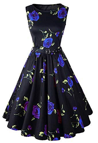 Vestido de Cintura Elegante Country Rock Retro cóctel Fiesta Swing Party Dress @Blue_S
