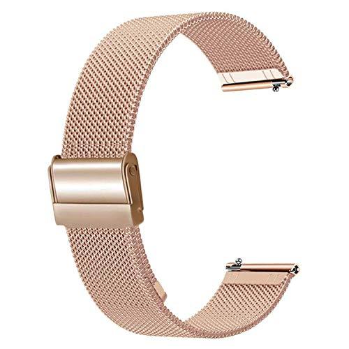 Aney Well Correa de reloj de 15 mm de oro rosa, correa de malla de acero inoxidable de repuesto para reloj de pulsera de mujer con cierre rápido para reloj inteligente.