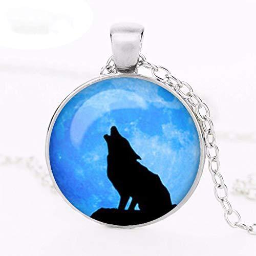 Nueva opción azul joyería Vintage bronce antiguo cabujón acrílico lobo luna Divergente colgante collares joyas para mujer