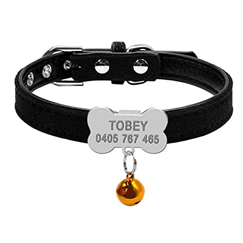 YUQIAN Collares Personalizados para Perros Collar Personalizado para Cachorros y Gatos Etiquetas de identificación de Hueso grabadas para Perros pequeños y medianos