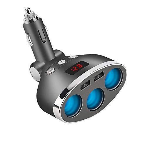 FJW Multi-Fonctionnel Chargeur de Voiture avec Surveillance de Tension LED 120W 3.1A USB Double Port avec diviseur d'allume-Cigarette à 3 Prises Protection Intelligente pour Voiture 12V-24V