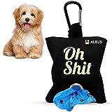 Dispensador de bolsas de caca para perro de tela - porta bolsas de perro con capacidad para 2 rollos - Dispensador de bolsas de excremento con anilla para colgar (NEGRA)
