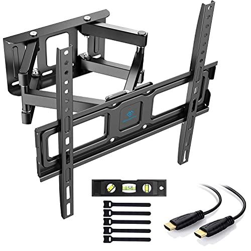 PERLESMITH TV Wandhalterung, Schwenkbare Neigbare TV Halterung für 32-55 Zoll Flach & Curved Fernseher oder Monitor bis zu 45kg, max.VESA 400x400mm