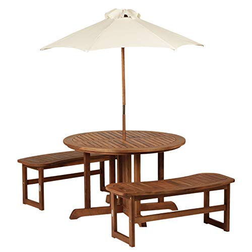 Outsunny 4-Piece Kids Outdoor Patio Table and Bench Set Acacia Wood with Umbrella