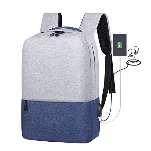Zewoi Scuola dello Zaino Laptop Backpack Bag College, Cucitura Daypack Casuale con Porta USB di Ricarica,Blu