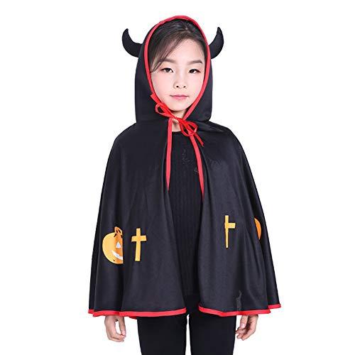 Xuxuou Halloween Kindermantel Vampir Umhang Kürbis Kostüm Cape Kapuzenumhang Abgewinkelt Junge Mädchen Kinder Kostüm Für Halloween Party Ostern Weihnachten (Schwarz)