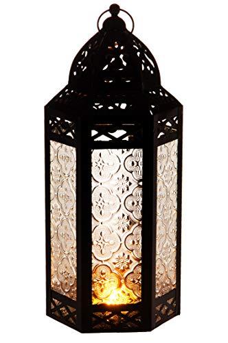 Orientalische Laterne aus Metall & Glas Liyana 30cm   orientalisches Windlicht   Marokkanische Glaslaterne für innen   Marokkanisches Gartenwindlicht für draußen als Gartenlaterne (Weiss)