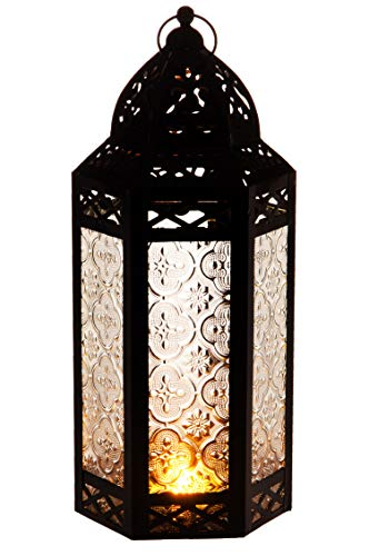 Orientalische Laterne aus Metall & Glas Liyana 30cm | orientalisches Windlicht | Marokkanische Glaslaterne für innen | Marokkanisches Gartenwindlicht für draußen als Gartenlaterne (Weiss)