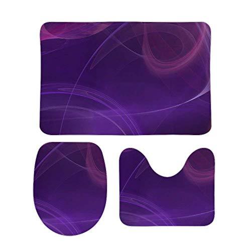Juego de alfombras de baño RedBeans antideslizantes de 3 piezas de franela para baño, color morado místico y suave pedestal antideslizante para la ducha, alfombra del inodoro