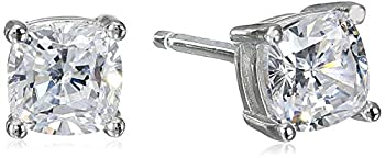 Platinum Plated Sterling Silver Cushion Cut Cubic Zirconia Stud Earrings 5mm