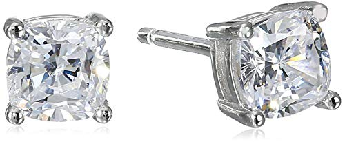 Platinum Plated Sterling Silver Cushion Cut Cubic Zirconia Stud Earrings (5mm)