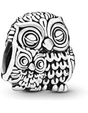 Jewelry Charming Owls Sterling Silver CharmWomen 925 Sterling Silver