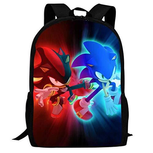 XCNGG Neon Red Blue Son-i-C The Hed-Gehog Backpack Lightweight School Shoulder Laptop Bag Handle Bookbag Kids Rucksack
