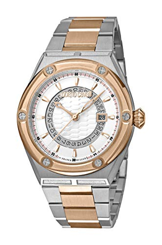 Roberto Cavalli by Franck Muller Scala Date Swiss Made Men's RV1G065M0096 Swiss Quartz Rose Gold Two Tone Stainless Steel Bracelet Watch