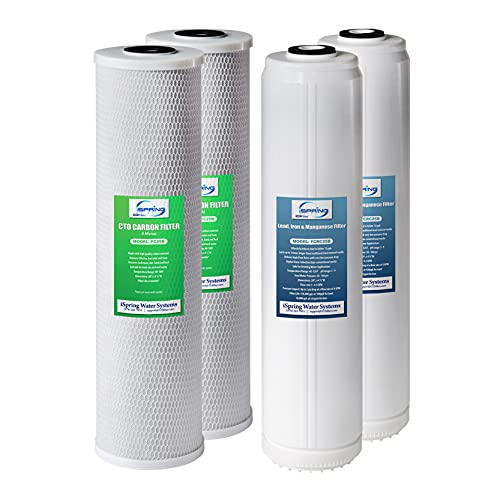 """iSpring F4WGB22BPB 4.5"""" x 20"""" 2-Stage Whole House Water Filter Replacement Pack Set with Carbon Block and Lead Reducing Cartridges, Fits WGB22B-PB, White"""