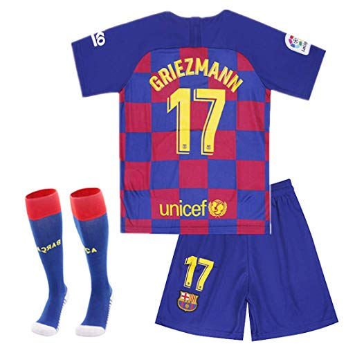 ASFA Antoine Griezmann Barcelona #17 Youth Soccer Jersey Home Short Sleeve Kit Shorts Kids Gift Set (YS 6-8 Years, Griezmann #17)