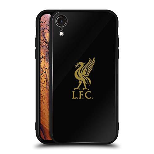 Head Case Designs Offizielle Liverpool Football Club Logo Gold Und Schwarz Liver Bird Schwarze Hybride Glas Rueckseiten Huelle kompatibel mit iPhone XR