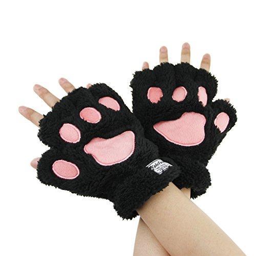 Guantes de felpa de medio dedo de invierno cálido para mujeres y niñas sin dedos de piel sintética térmica suave de cachemira gatito gato garra oso pata lindo animal guantes traje cosplay guante