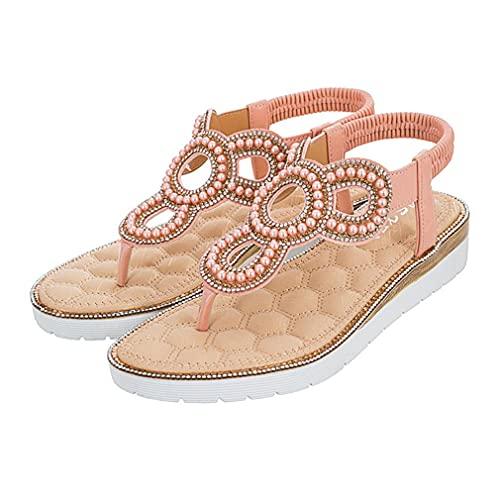 Sandalias De Estilo Bohemio De Verano para Mujer, Zapatos De Gran Tamaño con Fondo Plano Grueso Y Pizca Hueca para Mujer, Rosa