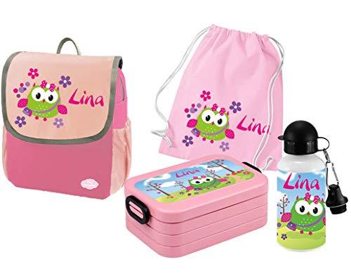 Mein Zwergenland Set 5 Kindergartenrucksack mit Brotdose, Turnbeutel und Trinkflasche Happy Knirps Next mit Name Eule, 4-teilig, Pink