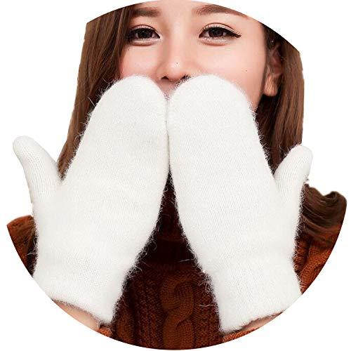 Damen Winter-Strickhandschuhe, aus dickem Kaschmir, Samt, warm, Schwarz, Damen, G140 White, Einheitsgröße