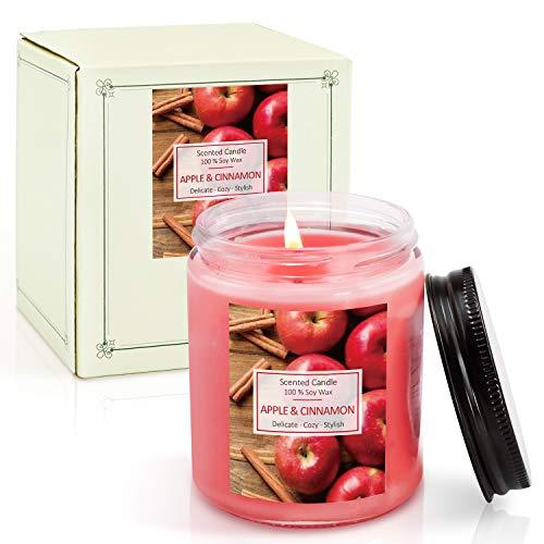 LA BELLEFÉE Duftkerze im Glas (Groß), Apfel Zimt Duft, Sojawachs Kerze 200g, Brenndauer 45 Std
